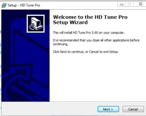 Kreator instalacji programu HD Tune