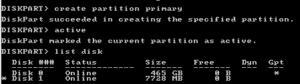 Create partition primary- tworzenie partycji podtsawowej