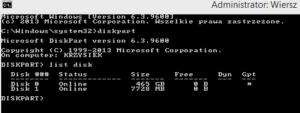 list disk - diskpart